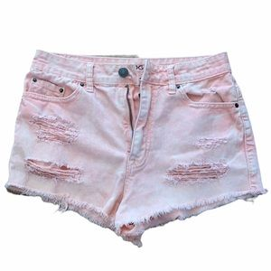 BDG High Rise Cheeky Dree Pink Distressed Shorts